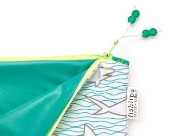 Sharks + Waves Wet Bag, Blue Water Resistant Bikini Bag, Modern Beach Life Zipper Pouch, Recycled Canvas Cloth Diaper Bag, Handmade Gift