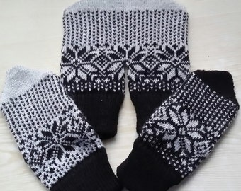 Knitted Mittens, Dual Valentine Gloves, for Lovers Holding Hands in One Glove, Granny's Pattern