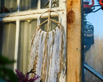 Dreamcatcher Rustic White Lace Peace Sign Boho Bohemian Wall Hanging Wedding Decoration 7""