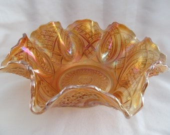 Imperial Glass Diamond Ring Marigold Bowl - Very Clean Carnival Glass