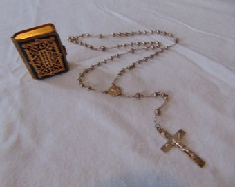 vintage rosary holder and mini silver rosary catholic religious christian