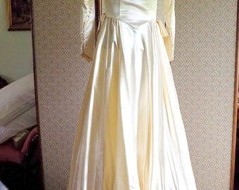 SALE - Vintage 1950's Ivory Satin Wedding Gown