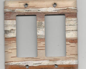 Birch bark covered GFCI double Rocker - dimmer plate