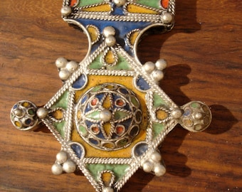 Tarnished large Moroccan Cross  enamel domed pendant with four points