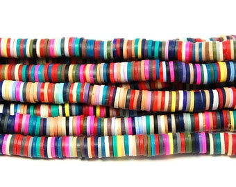 Flat Round Handmade Polymer Clay Bead Spacers, Mixed Color, 6x1mm