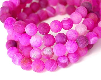 8mm Bright Fuchsia Agate Frosted Round Beads  -15 inch strand