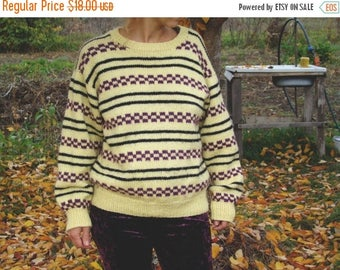 SALE Vintage 80's striped Sweater chunky Pullover