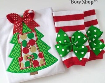 Baby Girl Christmas Tree Outfit -- Deck The Halls -- Bodysuit and Leg Warmers in stunning red, green and gold fabrics with her initial