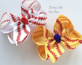 "Baseball bow, Softball bow, Baseball hairbow -- choose your team color for center, 4-5"" or 6-7"" or ponytail bow"