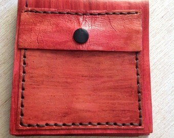 Leather wallet, handmade wallet, red wallet