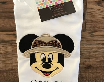 Personalized Safari Minnie or Mickey Mouse Disney Vacation Shirt