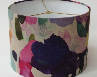"Linen Watercolor Print Drum Lamp Shade 12"" Diameter X 9"" Tall - Ready to Ship"