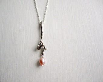 Twig Necklace with Pink Pearl, Branch Silver Necklace, Twig Necklace-style5
