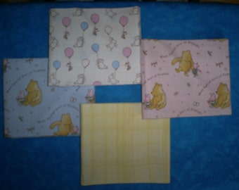 Set of 4, Approx. 18 X 22 inches. Classic Pooh. Baby Fat Quarters.