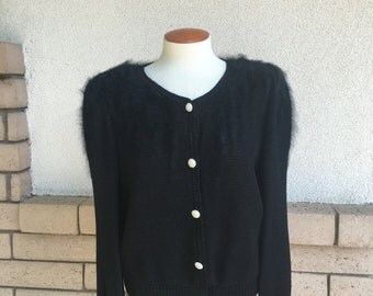 Vintage 80s Black Angora and Rhinestone Party Cardigan Sweater . Santana Knit Like . Size M-L