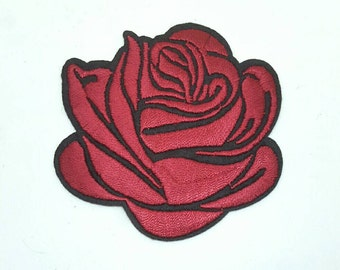 1 Dark Red Rose Tattoo Embroidered Applique Patches. Iron On or Sew On Badges for T-shirts, Jeans, Shirts Burgundy Red and Black 7.5cm wide