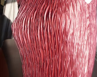 Deep rose pink fortuny pleated silk top S