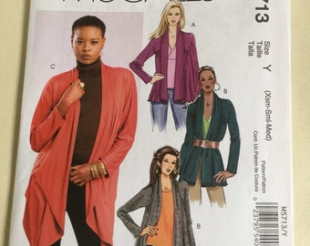 McCalls quick n Easy Drape Front Cardigans in 3 lengths. For Knits.