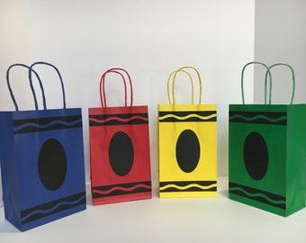 Crayon Goodie Bags - Crayon Paper Favor Bags - Set of 10