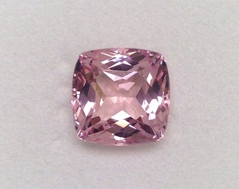 SOLD - Mozambique Morganite Gemstone, Squarish Antique Cushion Cut, Very High Quality Natural Loose Gemstone