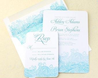 Beach Wedding Invitations, Waves Wedding Invitation, Nautical Wedding Invites, Sea Wedding, Wave Wedding Invite, Boho Beach Wedding, Set