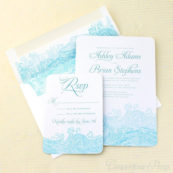 Beach Wedding Invitations, Waves Wedding Invitation, Nautical Wedding Invites, Sea Wedding, Wave Wedding Invite, Boho Beach Wedding, Set