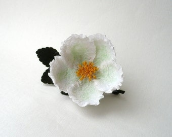 Felt brooch white flower with green leaves, nuno felt flower from wool and silk, nunofelt flower, OOAK, ready to ship