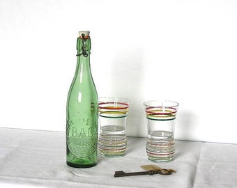 ON SALE for a week 1950 French antique beer bottles  - Picnic - brewery - french vintage bottle - green glass