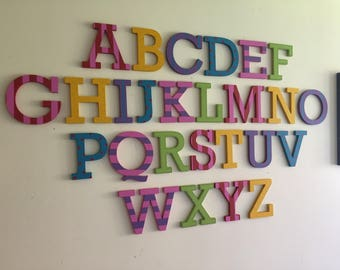 Painted Wooden Alphabet - Hand Painted Wooden Letters Set - 26 letters - 12cm high - Complete Alphabet, Full Alphabet