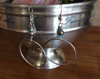 Silver Bohemian Hoop with Bead Earrings