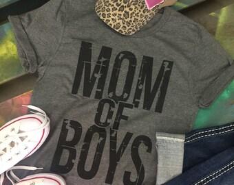 MOM OF BOYS Mother Soft gray shirt T-shirt Tee