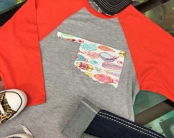 State of Oklahoma Baseball Raglan 3/4 sleeve Shirt T-shirt feathers print
