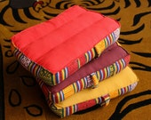 Small Meditation Cushion-Monk Red and Mustard Color with Bhutanese Fabric Border