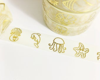 Bright Shiny Metallic Gold Foil Sea Creature Clams Dolphin Starfish Octopus Pearl Squid Seashell Washi Tape 11 yards 10 meters 15mm