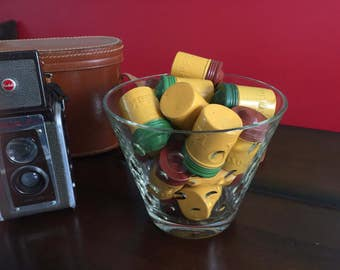 Trio of Kodak Aluminum Film Canisters 1950s Vintage Photography Yellow and Green and Brown
