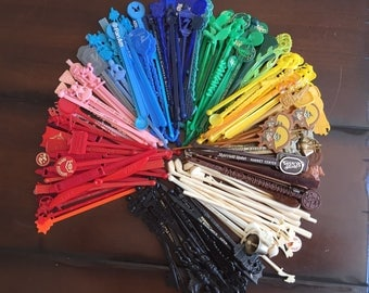 Vintage Swizzle Sticks - Set of 15 - Assorted Sizes and Colors Midcentury Bar Swizzle Stick Lot