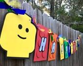 LEGO Rainbow (ROYGB) Happy Birthday Banner
