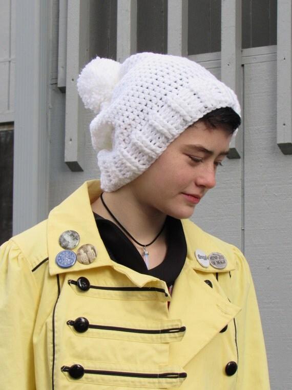 Crochet Slouchy Hat - Snowflake Sparkle with Pom Pom