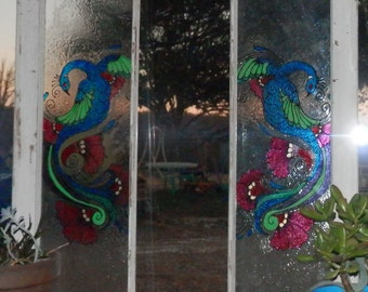 Hand Painted Peacock on Antique Window