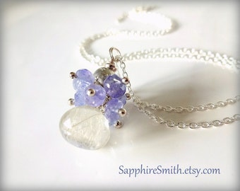 TWILIGHT Golden Rutilated Quartz Wire Wrapped Briolette, Tanzanite, and Star-studded Sterling Necklace, luxe gemstones