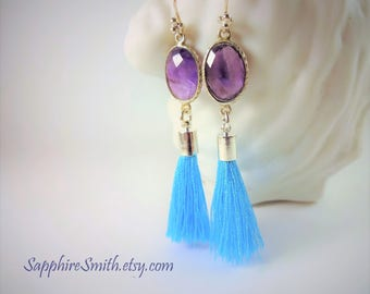SHOWGIRLS Violet Purple Amethyst & Turquoise Tassel Earrings, Sterling Silver Bezel Set Links, February birthstone, gifts for her
