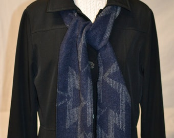 Spring Scarf dark navy blue and grey handmade of Native American tribal geometric fabric soft wool scarf