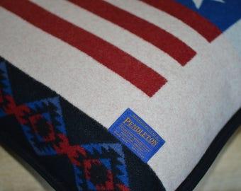 Pendleton® Pillow Large 20x20 Home of the Free home decor Patriotic decorative pillow Native American Buffalo Flag Pendleton Wool Pillow
