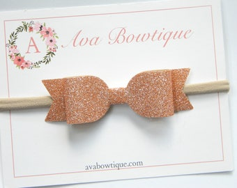 Rose Gold Bow Headband - Mini Gold Glitter Bow - Gold Glitter Bow Headband - Baby Bow Headband - Nylon Headband