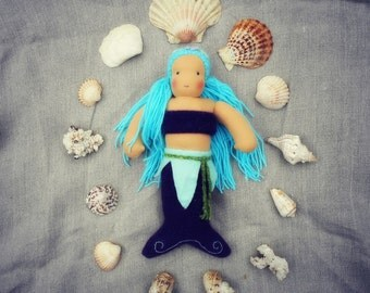"LIATH- 12"" Waldorf inspired purple and turquoise mermaid doll, blue angora hair, Waldorf doll, made from completely natural materials"