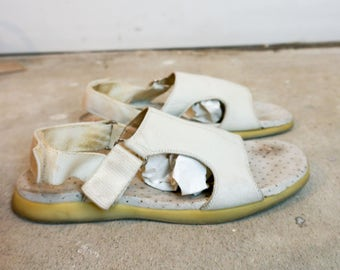 90s PRADA sport White Leather Sandals sz 8.5
