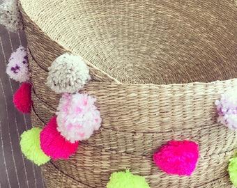 Boho Chic Pom Pom Sea Grass Basket - Modern Low Wide Shape Handmade