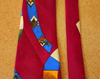 vintage 90s mod abstract silk necktie aries fashion  60s mod disco  free shipping