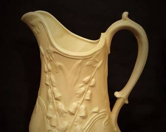 Fancy White Pitcher Ceramic Vintage Handmade Pitcher - FREE Shipping