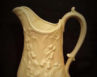 Fancy White Pitcher Ceramic Vintage Handmade Pitcher